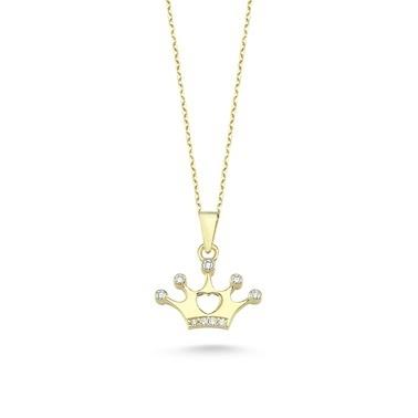 Online Takı Kral Tacı Gümüş Kolye Renkli